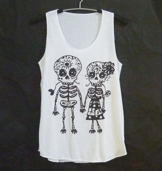 Cute clothes Skull tank top size S M L white by WorkoutShirts