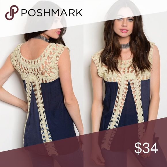 Navy & Cream Crochet Short Sleeve Top New with tags. Crochet paneling top.                                                      🌸65% rayon, 35% polyester.                                                                         🌺PRICE IS FIRM UNLESS BUNDLED.                                     ❌SORRY, NO TRADES. Boutique Tops Blouses