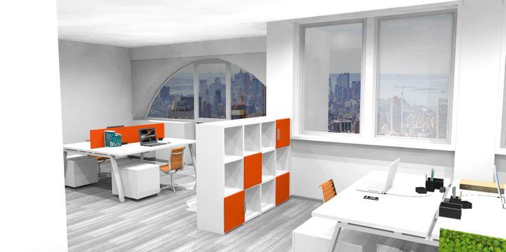 Render panoramico dell'ufficio. Controsoffitti in cartongesso e pavimento in laminato ad alta densità.