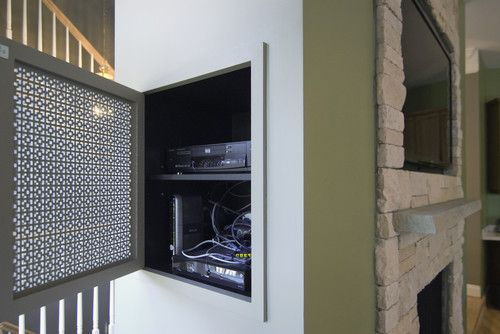 Build an in-wall shelf and decorative cover for neatly hiding your media components #organization #DIY #technology