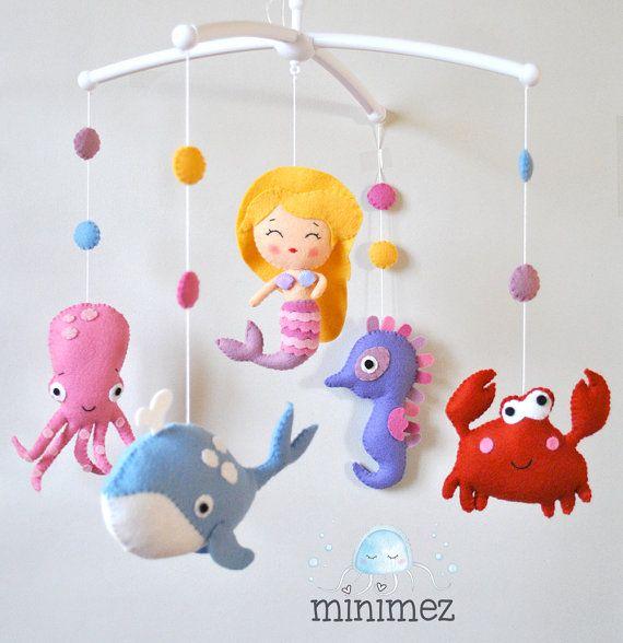 Baby mobile Mermaid Nautical mobile Sea creatures Whale Ocean mobile Fish Sea mobile Baby girl nursery decor Baby shower gift 100% wool felt