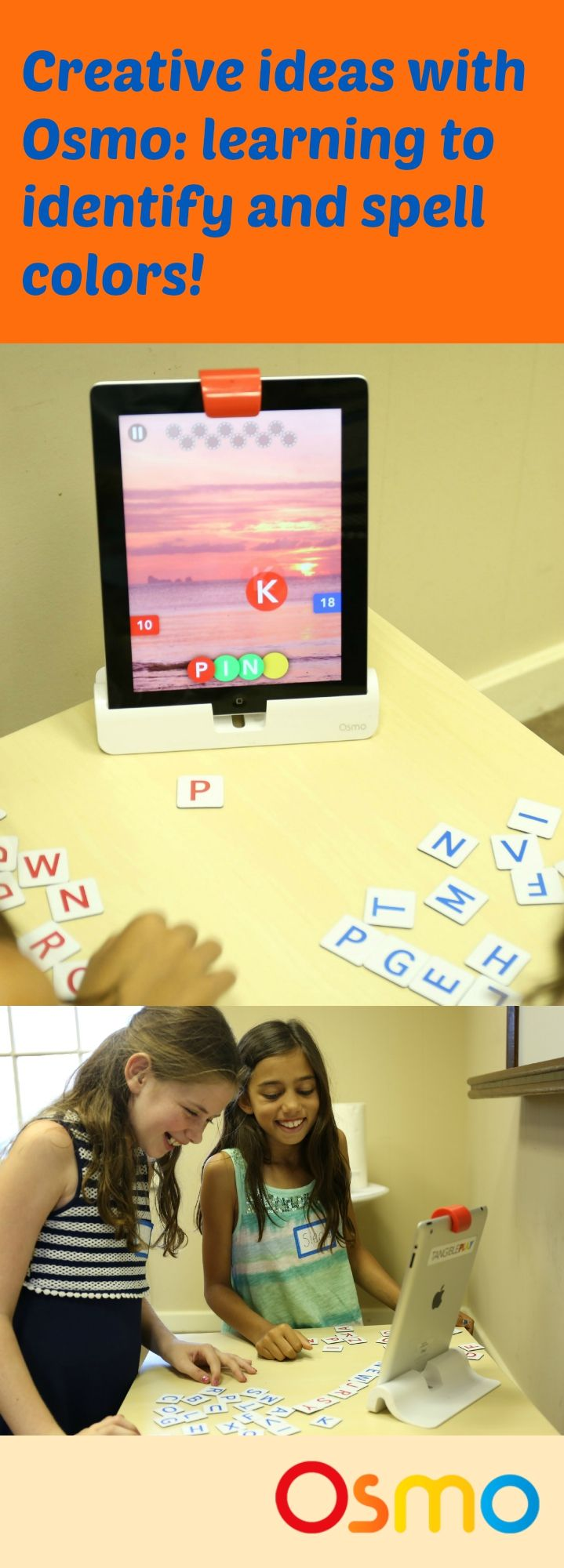 Revolutionize your classroom with Osmo.    Here is a great way to customize the Words game to teach identification and spelling of colors!   This activity can be played in groups of 2-3 and can be customized to be on easy mode for the youngest ages, or more difficult for older children.    For more information on Osmo in schools visit: https://www.playosmo.com/en/schools/