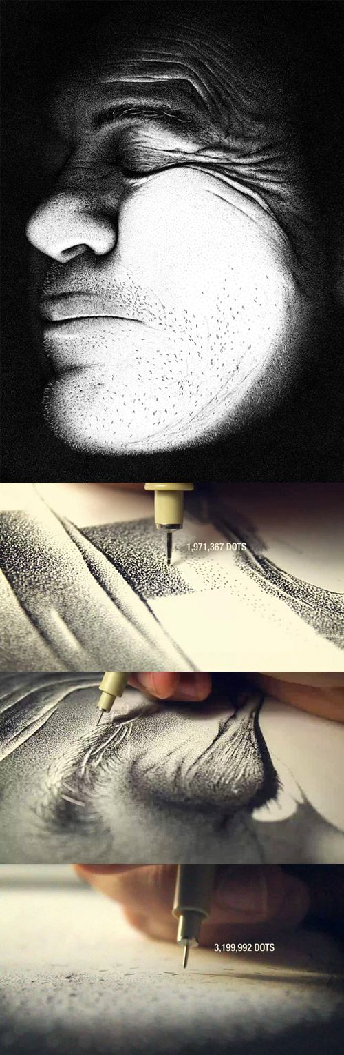 Oh! My Gosh!! seriously click the link to watch the video. Point/dot art, by Miguel Endara http://vimeo.com/33091687