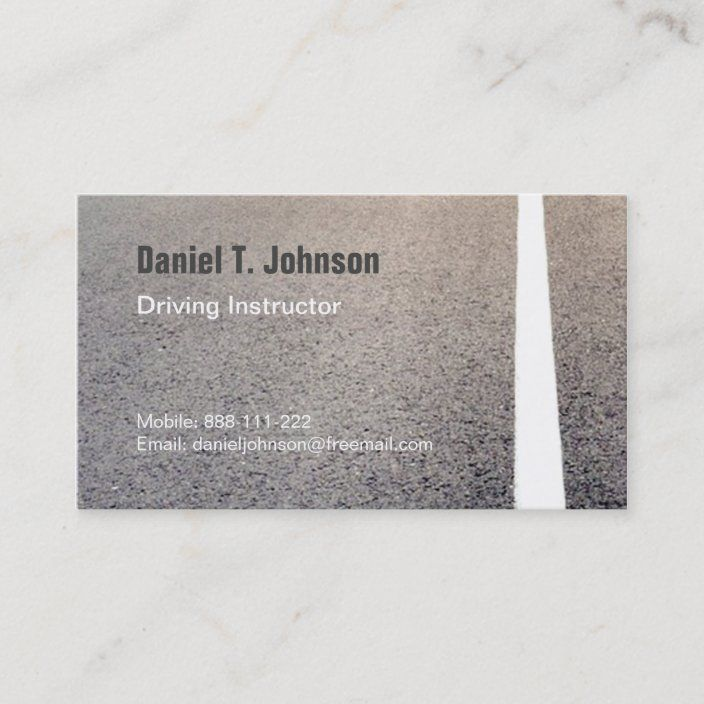 Road Texture Driving Instructor Business Cards Zazzle Com In 2021 Simple Business Cards Road Texture Driving Instructor