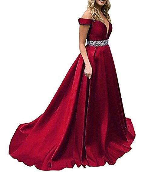 c9866ee36cb Homdor Beaded Off Shoulder Prom Dress A-Line Satin Evening Formal Gown For  Women at Amazon Women s Clothing store