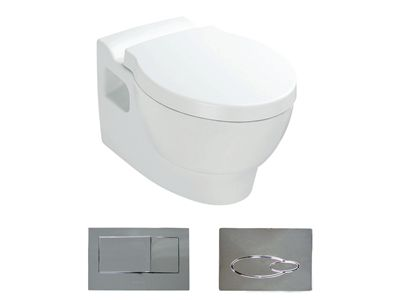 Ove Wall Hung Toilet with bevel flush button  Features:    Bevel flush button panel (oval version option available)  Dual flush (4.5/3L)  In wall cistern- fully framed  Back up shut-off valve located on cistern and accessible through the flush button panel  Open rim  P-trap set out: 185mm