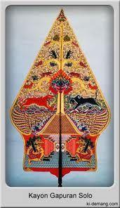 Kayon Gapuran represents the home of the protective figures, Wayang Kulit, Surakarta Central Java, Leather