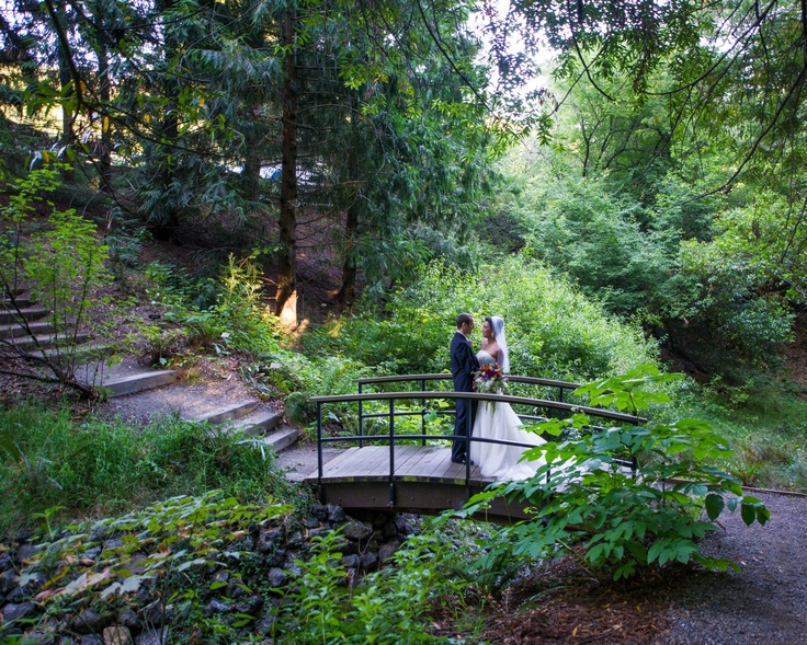 Newlyweds linger on the bridge over winter creek at the uc botanical garden in berkeley for Berkeley botanical garden wedding
