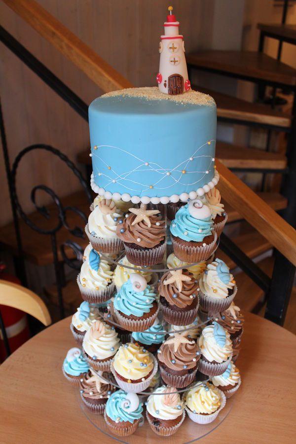 beach wedding, lighthouse cupcake wedding tower