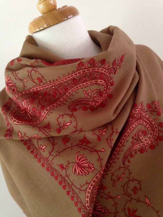 EMBROIDERED WOOL SHAWL Handmade in Kashmir by KashmirCouture