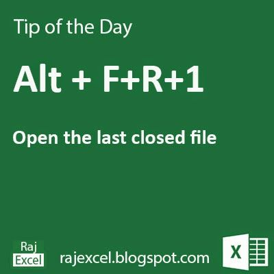 Learn Microsoft Excel: Tips of the Day : Using Alt + FR+1 (Shortcut Key) Microsoft Excel