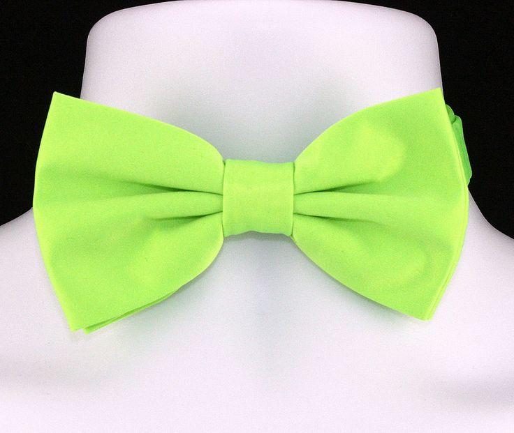 New Lime Green Microfiber Mens Bow Tie Adjustable Tuxedo Wedding Fashion Bowtie #TiesJustForYou #BowTie