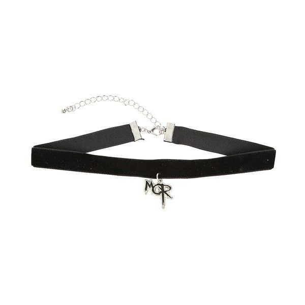 My Chemical Romance MCR Logo Black Velvet Choker ❤ liked on Polyvore featuring jewelry, necklaces, pendant jewelry, charm pendant necklace, charm pendants, velvet choker necklace and pendant choker necklace