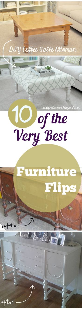 10 of the Best Furniture Flips ever- Amazing DIY Furniture projects, designs and tutorials.
