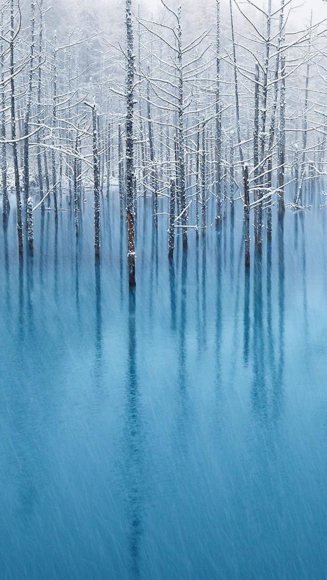 Snow in turquoise pond, Hokkaido, Japan