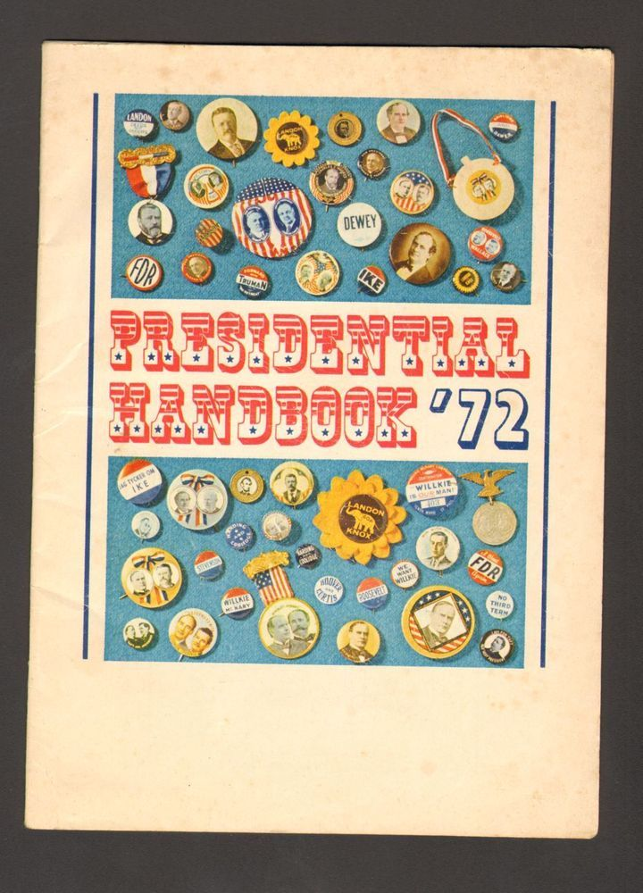 1972 Presidential Handbook Voting Elections Advertising Carroll County Bank MD
