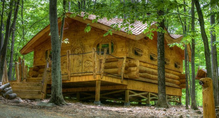 En savoir plus sur le type d'hébergement Cabane en bois rond - Parc Oméga