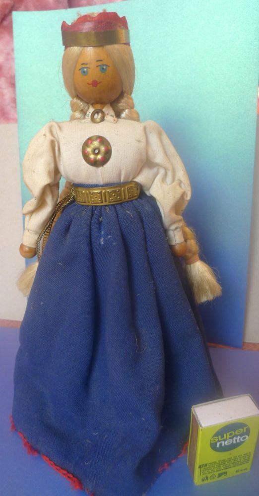 Vintage Soviet Latvian Latvia Wooden Handmade BIG DOLL Ethnic Folk Costume Dress #DollswithClothingAccessories