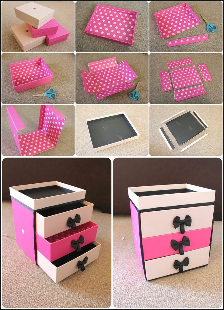 DIY: Make Up Storage  Para maquillaje, medidas de mueble blanco. Color morado (centro) y blanco o beige otros 2 cajones. Forrar con papel lustre (pq es brillante)