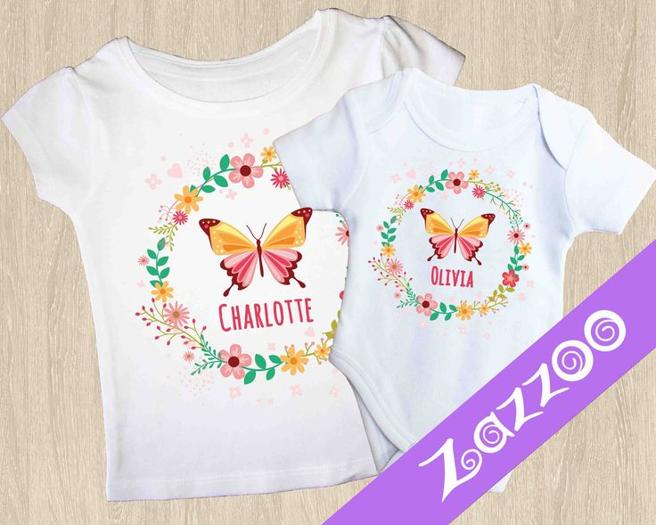 Personalized Onesie or Girls T-shirt, Personalized Bodysuit Romper, Baby shower gift, Customized onesie, Name onesie, Butterfly by Zazzoo on Etsy