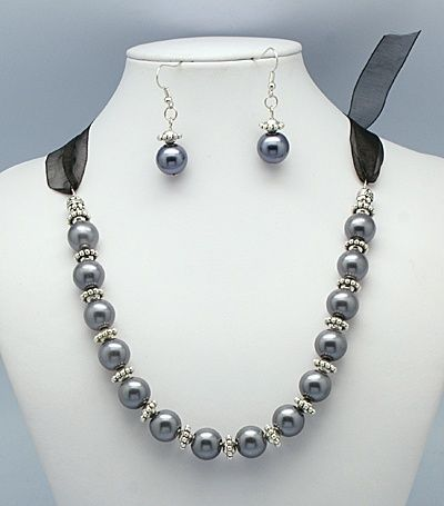 Glass Pearl Jewelry Sets, with Tibetan Silver Beads and Organza Ribbon