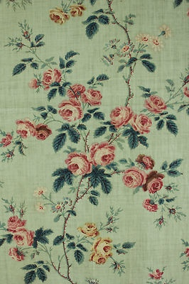 Antique French chintz fabric c1850 ~ lovely celedon green with floral design ~ www.textiletrunk.com