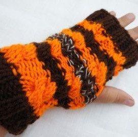 Halloween gloves, brown orange mittens