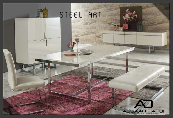 STEEL ART dining room from Nills collection It is designed for those in favor of order and simplicity. Steel Art, based on minimal and original lines, offers functional solutions for your comfor