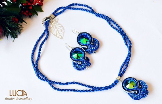 Blue soutache jewelry set Beaded royal blue necklace and