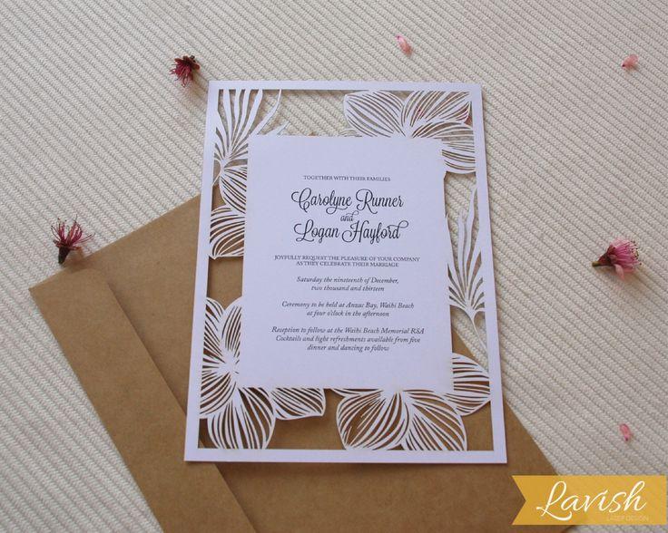FRANGIPANI Laser Cut Wedding Invitation by LAVISHLASER on Etsy https://www.etsy.com/listing/204178393/frangipani-laser-cut-wedding-invitation