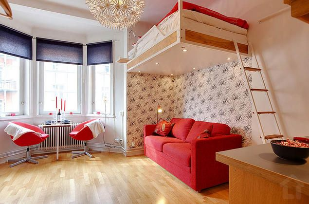 Bright and airy small apartment with a suspended bed - only 21sqm. More photos: http://goo.gl/RQ0Pm