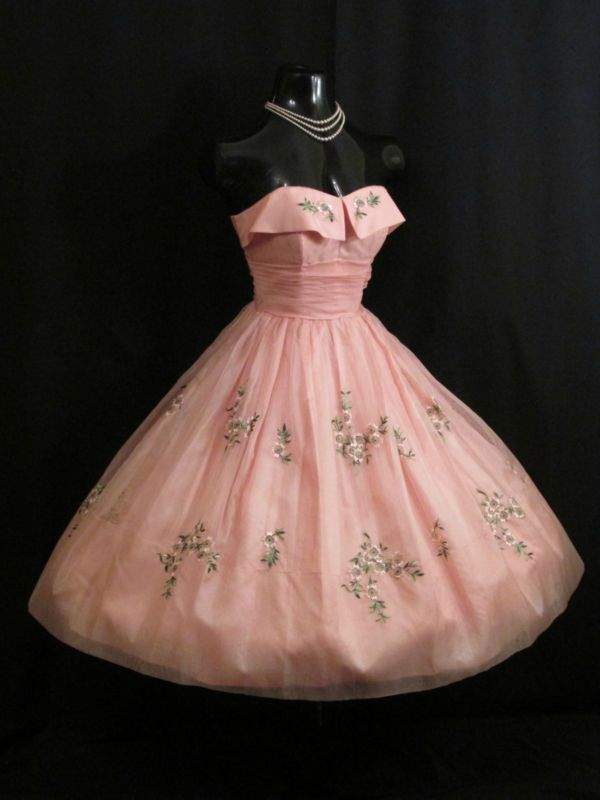 Vintage 1950's 50s STRAPLESS PINK Embroidered Silk Organza Prom Party DRESS