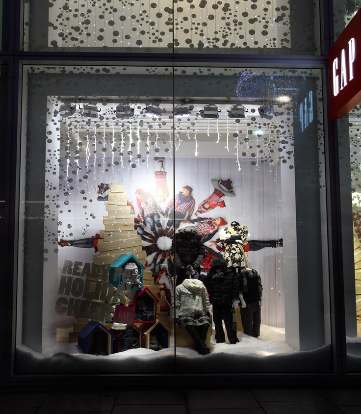 LED Lighting In The Frosty Winter Window Display Of GAP