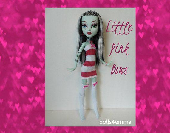 VERKOOP - Monster High 17-inch Doll kleding - dij hoge kousen, roze gestreepte jurk + sieraden - handgemaakte aangepaste fashion door dolls4emma