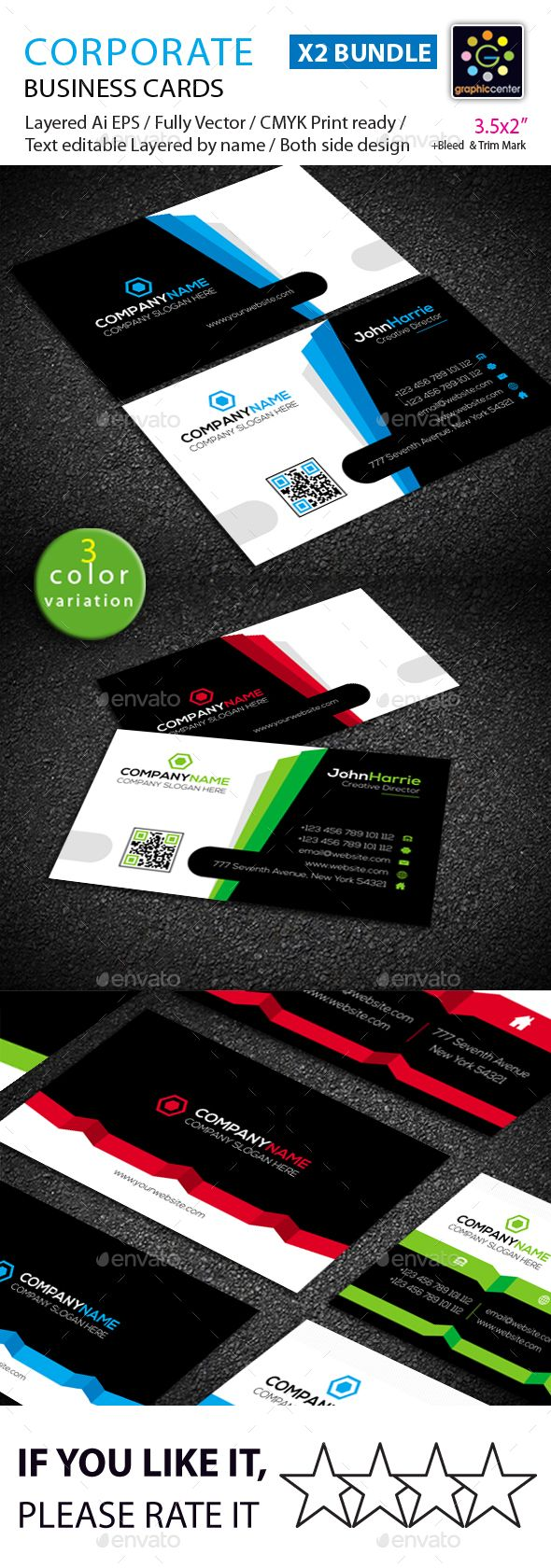 #Business Card #Bundle - #Corporate Business #Cards Download here: https://graphicriver.net/item/business-card-bundle/19253017?ref=alena994