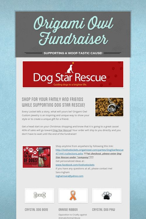 Origami Owl Fundraiser for DOG STAR RESCUE