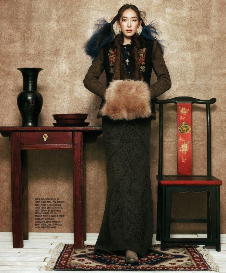 Korean fashion model Ji Hyun Jeong appears in 'Rising Sun Full Moon' for Singles Korea January 2012 as photographed by Kim Youngjun and styled by Eun Ji Jung.