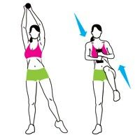 Abs- Bow Extension   Hold a dumbbell in both hands above your right shoulder and point your left foot out to the side (a). In one motion, draw your elbows down to lower the weight as you bend your left knee toward your chest (b). Reverse the movement to return to start. That's one rep. Do 10, then switch sides and repeat.
