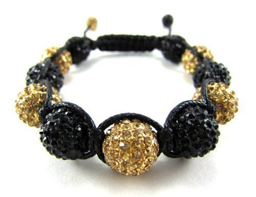 """12mm Iced Out Black and Yellow / Gold Adjustable Bracelet + Gift Box Miami Jewels. $44.95. 7.5"""" to 10"""" Adjustable Bracelet.. Very Well Crafted Using Waxed Cord for Extra Shine and Durability.. 12MM Fully Iced Black & Yellow/Gold Crystal Ball.. 100% Satisfacition Guaranteed or Your Money Back!. Made with Solid Brass, NOT Weightless Resin. Bracelet Weighs 105 Grams or 3.8 Oz."""