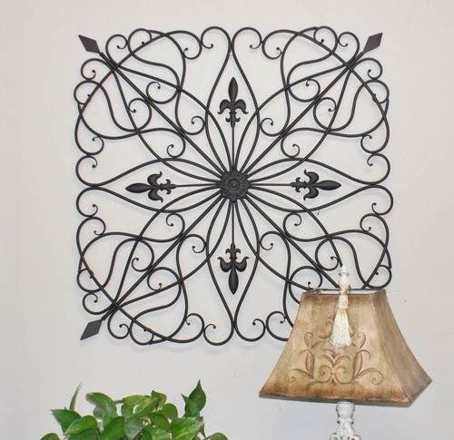 Karina 28 Inch Square Indoor Outdoor Iron Wall Grille