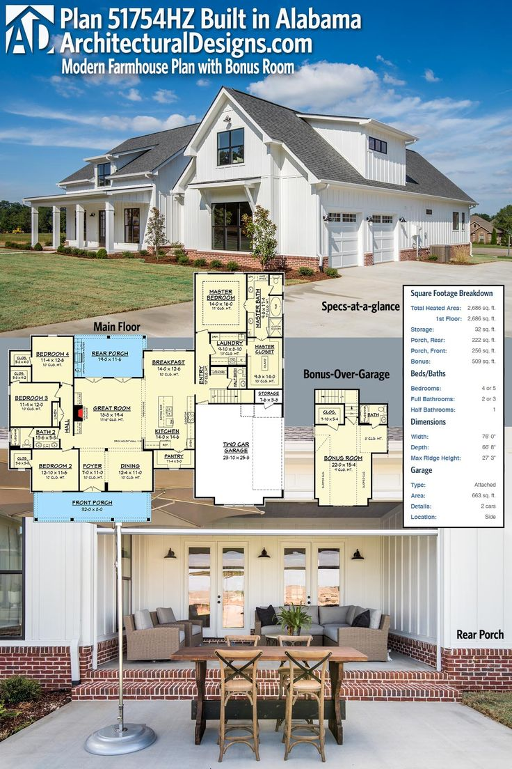 372 best House Plans images on Pinterest   Design floor plans  House     Architectural Designs Modern Farmhouse Plan 51754HZ was built in Alabama by  one of our clients