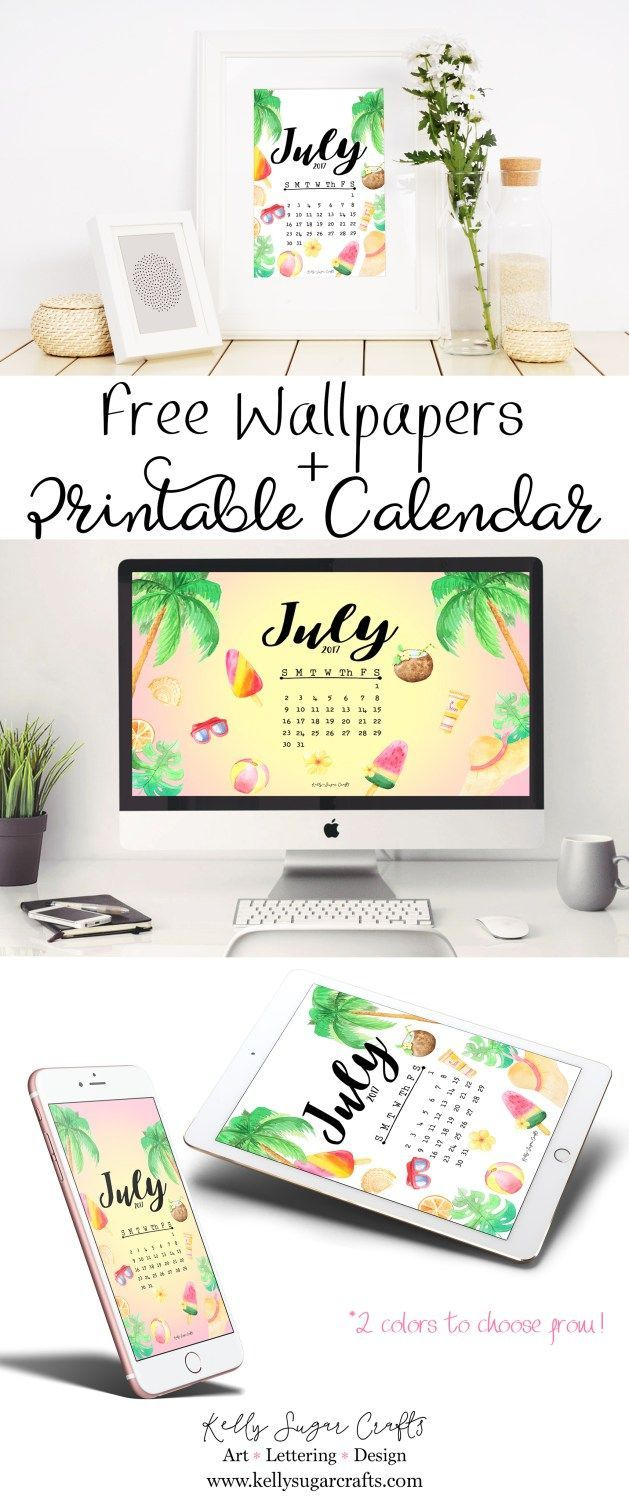 Free Printable July 2017 Calendar + Wallpapers by Kelly Sugar Crafts
