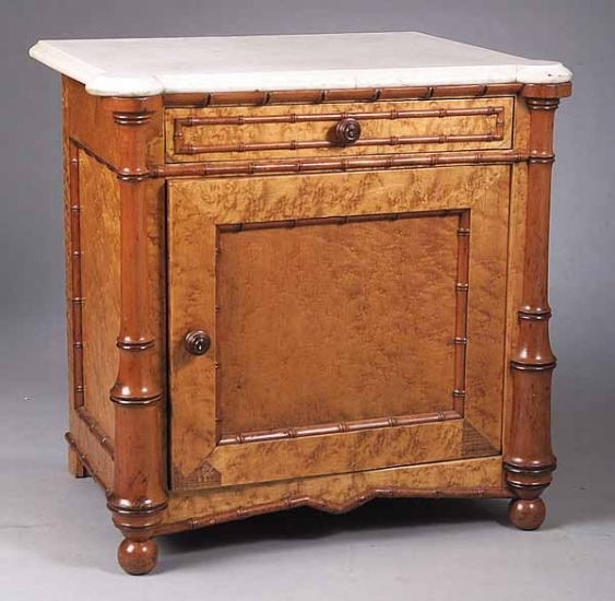 An Aesthetic Birdseye Maple Faux Bamboo Washstand, Late 19th C., The Marble  Top