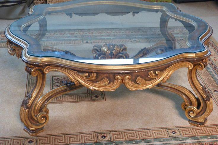 Table De Salon  Bois Doré Style Louis XV Décor Rocaille