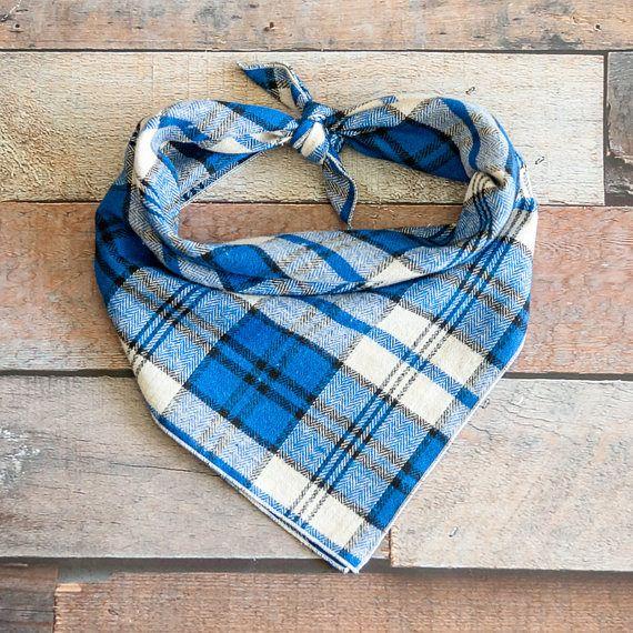 Blue Plaid Dog Bandana Tie Dog Bandana Tie Bandana