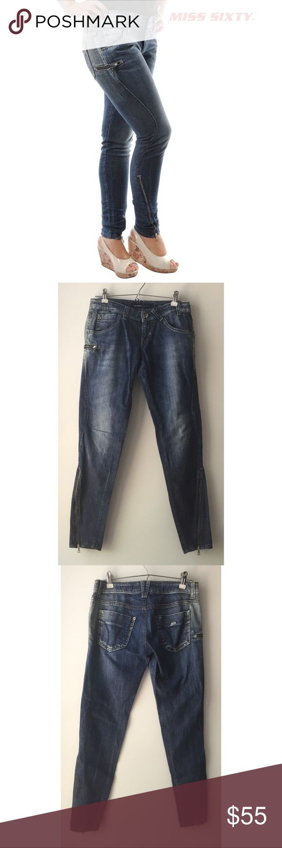 Miss Sixty | dalko style jeans Super trendy 'dalko' style Miss Sixty jeans. Zipper closure at the ankles. Extra zipper pocket on right side. Size 27. Miss Sixty Jeans