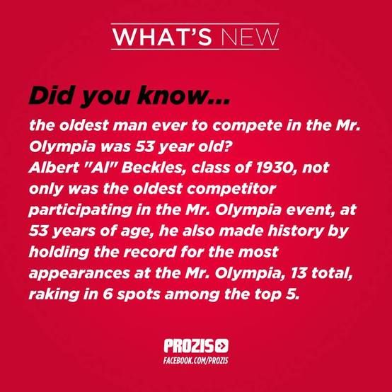 Visit www.prozis.com for more information on bodybuilding and sports nutrition Did you know What´s new #curiosities #fact #benefits #Mr #olympia Albert Beckles 53 years old  the #oldest #competitor #wonderful Did you know?