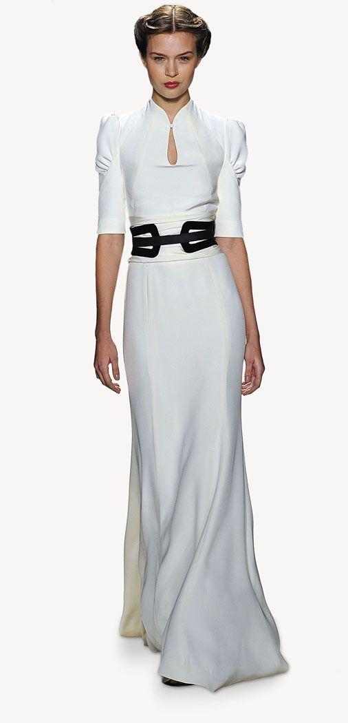 Carolina Herrera - Fall 2013 - Stunning - Ivory silk crepe gown with black velvet belt