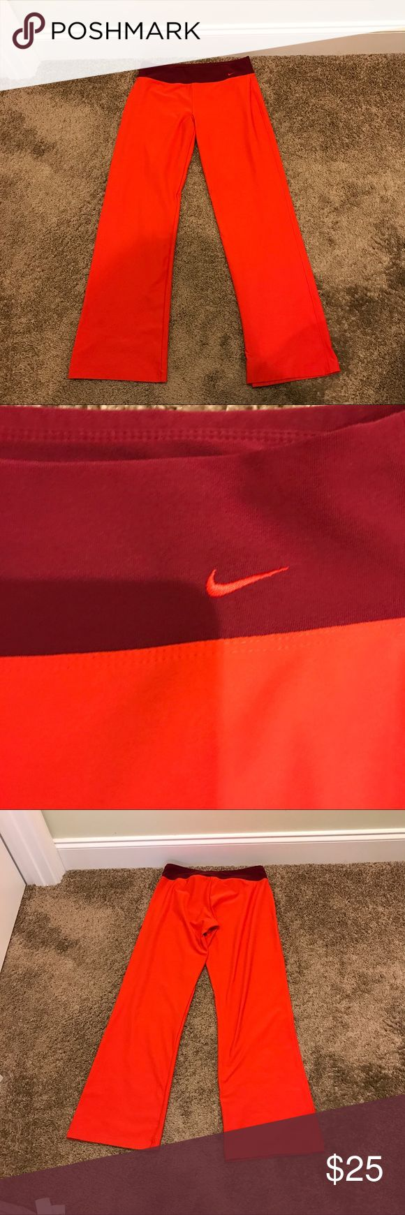 Nike Dri-Fit Workout Athletic Gym Yoga Pants M Orange color on these excellent used condition Women's Nike Gym Workout Pants size Medium (8-10) Nike Pants Track Pants & Joggers