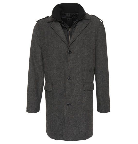 manguun collection Mantel, feines Streifen-Dessin, Westen-Einsatz grau-schwarz
